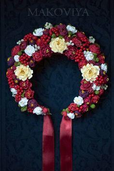 Flower Head Wreaths, Flower Garlands, Black Flowers, Diy Flowers, Ukrainian Christmas, Floral Crown Wedding, Ukrainian Art, Folk Fashion, Baby Girl Headbands