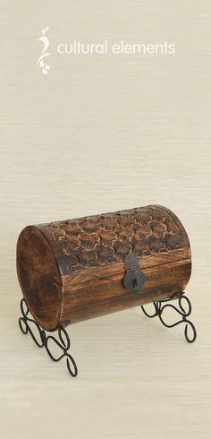 Wooden Barrel Jewelry Box Handmade in India
