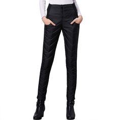 Women Winter Pant High Waist Duck Down Warm For Ladies Work Elegant Casual Slim Womens Formal Trousers Long Black Blue XXXL *** Want additional info? Click on the image.