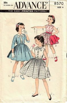 1950s Advance 8570 Vintage Sewing Pattern Girls Party Dress