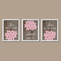 Live Laugh Love Wall Art Canvas Or Prints Teal Gray Bedroom Pictures Bathroom Quotes Decor Flower Set Of 3 Artwork