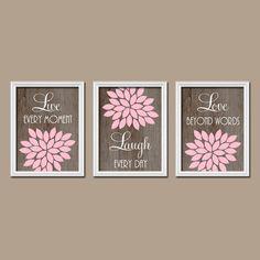 Pink Brown Wood Grain Custom Live Laugh Love Colors by trmDesign, $25.00