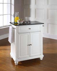 Cambridge Solid Black Granite Top Portable Kitchen Island In White Finish Carts And Islands