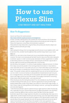 How to use Plexus Slim  www.robindix.myplexusproducts.com