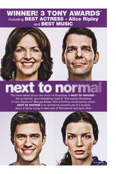 The original broadway Next to Normal cast creepy faces poster. I think that it's supposed to be a distorted Norman Rockwell like image.