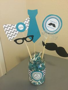 Little man themed babshower centerpieces