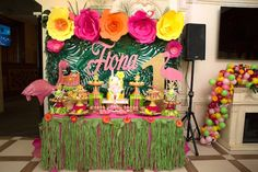 Dessert table from a Tropical Flamingo Paradise Birthday Party on Kara's Party Ideas | KarasPartyIdeas.com (14)