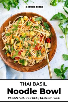 This Thai basil recipe is a spring roll—in bowl form! It's an explosion of flavor: tangy lime, fresh herbs, and crisp veggies. | summer salads | salads | dinner ideas | healthy dinner recipes | summer dinner recipes | lunch ideas | no cook meals | vegetarian recipes | gluten free recipes | vegan recipes | dairy free recipes | #thaibasil #noodles #noodlebowl #thaibasilrecipe Vegetarian Cookbook, Vegetarian Recipes Dinner, Vegan Dinners, Thai Basil Recipes, Pasta Recipes, Vegan Recipes Plant Based, Couple Cooking, Noodle Bowls, Plant Based Eating