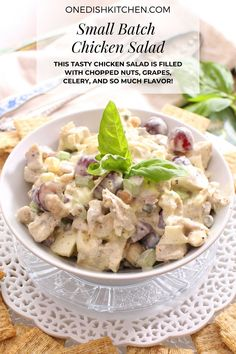 This chicken salad recipe is the perfect one to use if you have leftover chicken from a previous meal. This tasty chicken salad is filled with chopped nuts, grapes, celery, and so much flavor! Chicken Salad, Celery, Tasty
