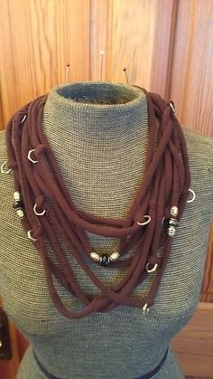Upcycled T-Shirt Jersey Infinity Scarf Necklace Cyberpunk Steampunk DIY OOAK 8