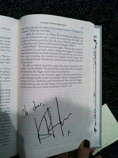 Haha Kit on the cliff hanger on Jon in the latest book