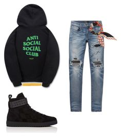 """""""Untitled #403"""" by aintdatjulian on Polyvore featuring Palm Angels, WithChic, AMIRI, Gucci, Off-White, men's fashion and menswear"""