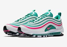 Nike Air Max 97 South Beach White/Pink Blast/Green 921826-102 Mens Size 8 New #Nike #AthleticSneakers