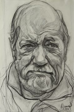 James A 'Sir Wally Herbert' charcoal on paper 2006