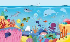 Sea Drawing, Painting & Drawing, Ocean Illustration, Animal Drawings, Cute Drawings, Animal Decor, Kids Wallpaper, Painting Lessons, Aquarium
