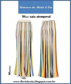 Maxi saia atemporal, com fashion print, na vibe setentinha! Para mais detalhes, confira no blog Universo da Moda & Cia.