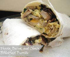 Veggie and Bacon Breakfast Burrito