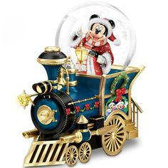 Disney Snowglobes and Water Globe Collectibles - Mickey Mouse Festive Christmas Holiday Train Globe