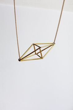 Himmeli inspired geometric pendant necklace, cage necklace in gold tone…