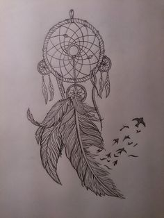 Feather Dream Catcher Tattoo Stencil photo - 2