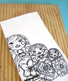 Kitchen Towel Nesting Dolls Dish Cloth Tea Towel - CUTE -  Indie House Wares - Home Decor
