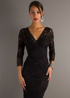 $119 Sleeve V-Neck Lace Wedding Guest Dress - http://www.basadress.com/sleeve-v-neck-lace-wedding-guest-dress-1313.html
