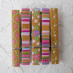 Clothespins  Set of 5 Decorative Hand Painted Bamboo by Coolisart, $8.00