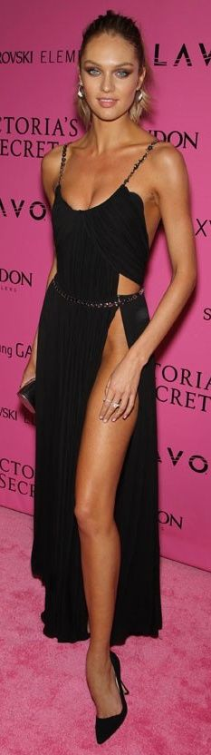 #street #fashion Candice Swanepoel black dress @wachabuy