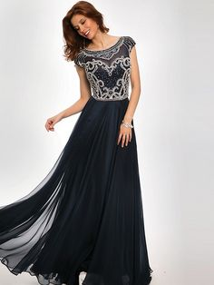 A-Line/Princess Scoop Chiffon Floor-Length Short Sleeves Beading Dresses