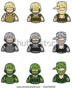 Soldier and special force military marine half-body dummy model in uniform icon collection set 1, create by cartoon vector