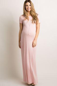 Light Pink Basic Side Slit Maxi Dress