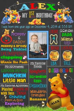 Welcome to Platinum Frugality Chalkboard Art! Birthday - Winnie the Pooh Theme (Customization available for any age - see PERSONALIZATION below)