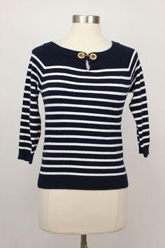 Lauren Ralph Lauren Navy Blue Nautical Striped 3/4 Length Sweater Size S #LaurenRalphLauren #Crewneck