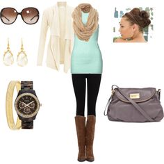 mint tank/top + cream sweater + dark skinnies + brown boots + gold/tortoise accessories + grey crossobdy ***missing skinnies/leggings