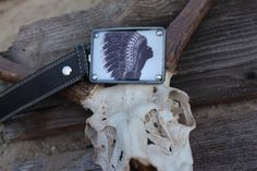 Retro indian silloutte buckle with universal snap by BuckleMeBlues, $40.00