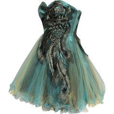 PacificPlex Metallic Peacock Embroidered Holiday Party Prom Dress... ❤ liked on Polyvore