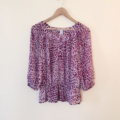 H&M | Purple cheetah blouse Sheer. Elastic around the bottom. Sleeves come down 3/4. Great condition! H&M Tops Blouses