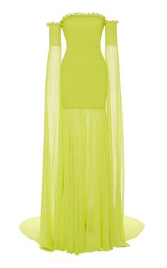 Shop Off-The-Shoulder Draped Silk Gown. Christian Siriano's silk gown features draped off the shoulder sleeves with smocking detail along the bodice and sleeves. Types Of Dresses, Cute Dresses, Beautiful Dresses, Kpop Outfits, Dress Outfits, Fashion Dresses, Silk Gown, Looks Style, I Dress