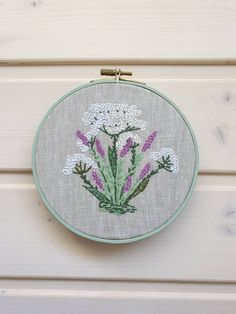 Lavender and Daisy Colorful Needlepoint One of a Kind Floral Bundle Art Feminine Home Decor Pretty Floral Embroidery