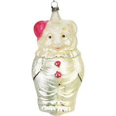 Antique German Blown Glass Gnome with Pipe Christmas Ornament
