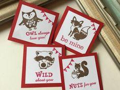 Classroom Valentine's Day exchange Card  Owl Fox by fishcouple