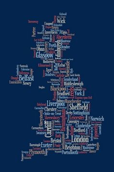 Typographic text map of United Kingdom made from city and town names
