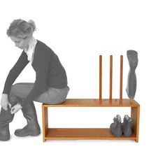 Oak welly and shoe rack with integral seat for 2 pairs of wellington boots and shoes. Wooden stand in solid Oak with welly rack above, shoe shelf below Shoe Rack With Seat, Preschool Readiness, Crochet Baby Costumes, Shoe Cupboard, Shoe Storage Rack, Innovative Systems, Pet Odors, Walking Boots, Boots