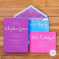 Pink, Turquoise and Purple Bat Mitzvah Invitation Suite
