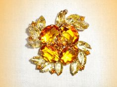 Lovely Vintage Crystal Glass Stone Brooch from by FineThingsShop