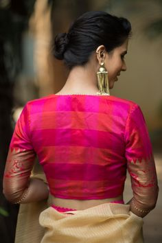 Buy readymade blouse online shopping india has got variety of blouse designs, designer blouses, ready to wear saree blouses. Saree Blouse Neck Designs, Fancy Blouse Designs, Bridal Blouse Designs, Kurta Designs, Stylish Blouse Design, Designer Blouse Patterns, Wedding Ideas, Classic, Weddings