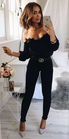 #fall #outfits Women's black spaghetti suit