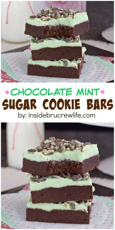Chocolate Mint Sugar Cookie Chocolate Mint Sugar Cookie Bars These chocolate cookie bars are topped with mint frosting and Andes Mint chips. So delicious and so easy! Chocolate Cookie Bars, Sugar Cookie Bars, Mint Chocolate, Chocolate Chips, Melted Chocolate, Chocolate Icing, Brownie Recipes, Chocolate Recipes, Cookie Recipes