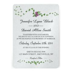 Watercolor Rose Wedding Invitation - Customize your fonts, colors, size and paper style.