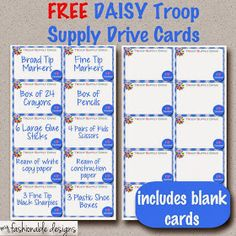 Fashionable Moms: Girl Scouts: FREE Printable - Daisies Troop Supply Drive Cards